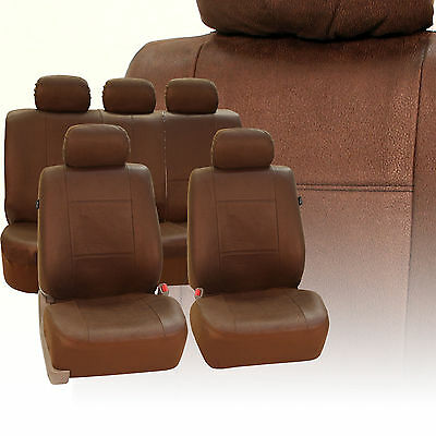 Antique Style Leather-Like Fabric Car Seat Covers Airbag & Split Brown
