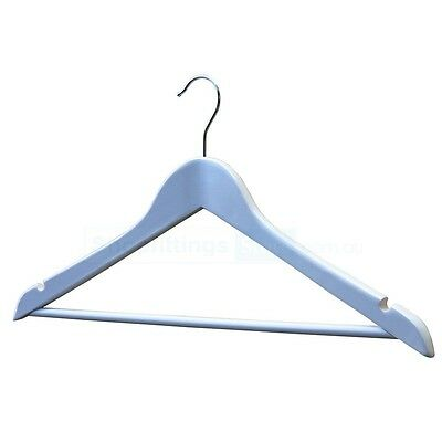 100 x Wooden White Shirt Hangers / Timber Clothing Hangers Adult White