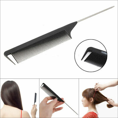 "8.66"" 22cm Fine-tooth Metal Pin Hairdressing Hair Style Rat Tail Comb Black Tool"
