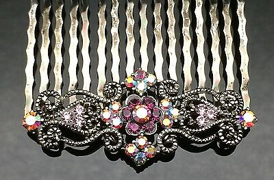 Purple Diamante Vintage Formal Bridal Wedding Crystal Hair Comb Clip 5.2cm