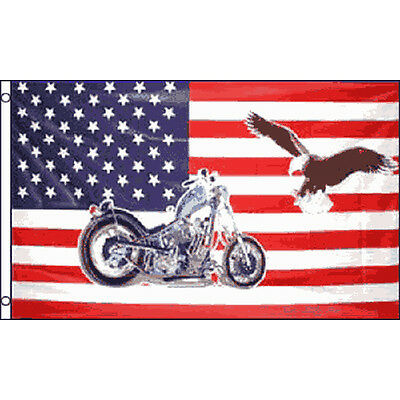 Usa Motorcycle Flag 5Ft X 3Ft Biker Motor Bike American Banner With 2 Eyelets