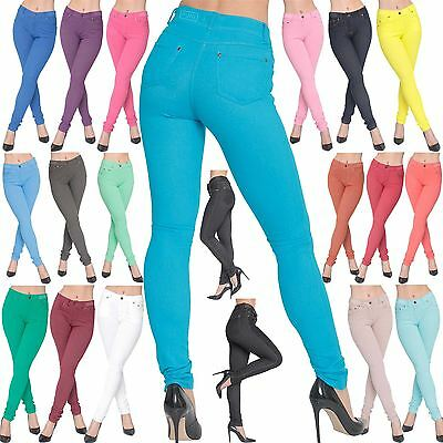 Ladies Womens SKinny Fit Coloured Jeggings Stretchy Jeans Trousers Stretchy 8-26