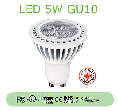 5W LED GU10 Lamp (Dimmable/3,000K/UL Listed/5-Year Warranty) - 10-PACK