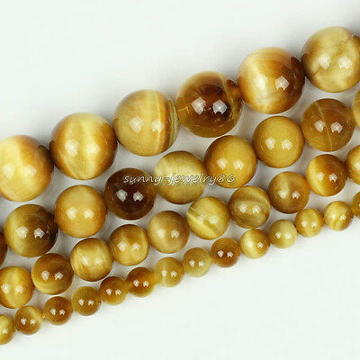 """Natural AAA Gold Tiger's Eye Round Gemstone Beads 4mm 6mm 8mm 10mm 12mm 15.5"""""""