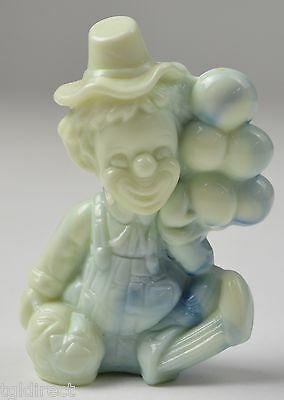 """Vintage Mosser Glass Clown Holding Balloons Figurine Hoagy 3.5"""" Tall Collectible"""