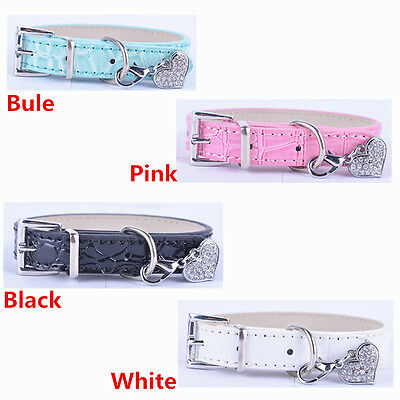 Lot 4 Personalized Croc Leather Dog Collar Rhinestone Heart Tag Included SizeS M