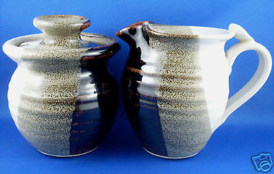 Retro (NU) BETTE BEAZLEY Unique GLAZED POTTERY Milk Jug & Sugar Bowl - In Aust
