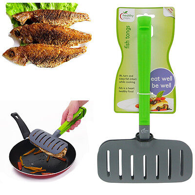 Healthy Steps Fish Frying Tongs Turner Holder Wide Spoon Grill Fry Kitchen Tool