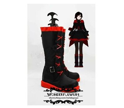 Xmas RWBY Ruby Rose Boots Cosplay Lace Up NEW shoes