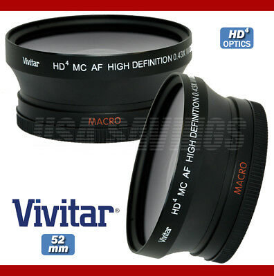 VIVITAR 0.43x 52mm Wide Angle Lens with Macro For Nikon D3100 D5000 D5100 D7000