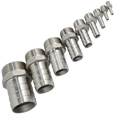 Male Thread Pipe Fitting x Barb Hose Tail Connector Stainless Steel NPT Quality