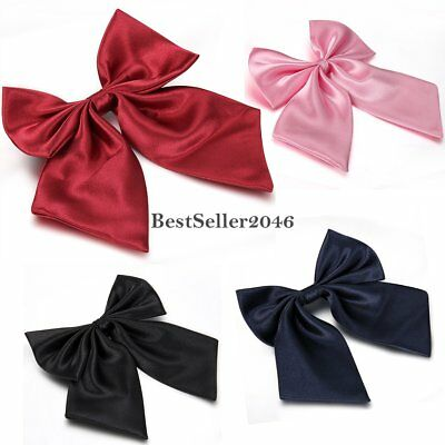 Women Lady Girls Solid Color Wedding Party BIG Bow Tie Adjustable Formal Bowtie