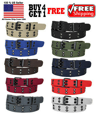 KIDS CHILDREN BOYS GIRLS 2 HOLES ROW GROMMETS Stitched Canvas Fabric Web Belt