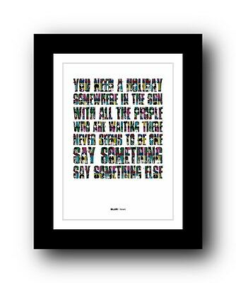 BLUR Advert ❤  song lyrics typography poster art print