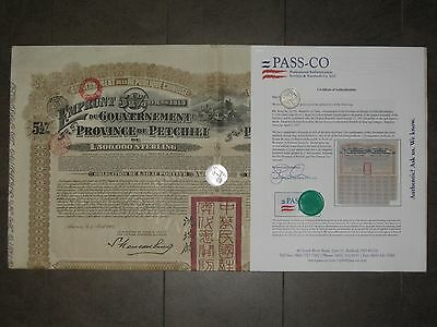 """1913 China Gov't Loan - Chinese Government Province of Petchili with """"Pass-CO"""""""