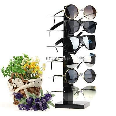 6 Pairs Sunglasses Glasses Rack Holder Frame Display Stand Eyeglasses Black