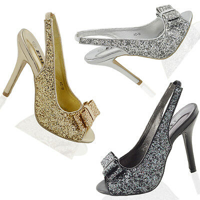 Ladies Sling Back Peep Toe Sandals Womens Stiletto Glitter Sparkly Party Shoes