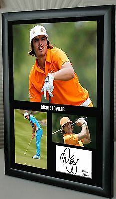 """Rickie Fowler Golf Framed Canvas Tribute Print Signed """"Great Gift"""""""