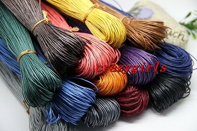 80/400Meter Waxed Cotton Cord Various Colour Lengths Available craft DIY 1-1.5mm