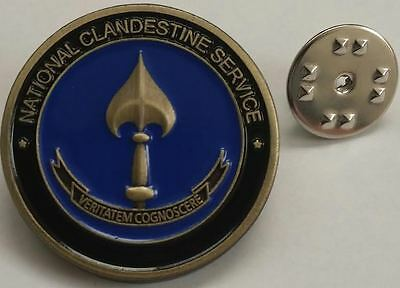 "CIA NCS National Clandestine Service 1"" Antique Brass Hat / Lapel Pin / Tie Tack"