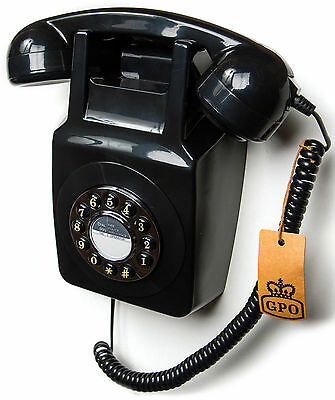 GPO 746 Wall phone traditional retro push button dialling telephone black
