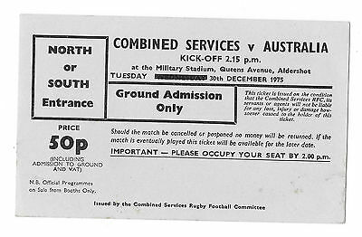 1975 - Combined Services v Australia, Touring Match Ticket.