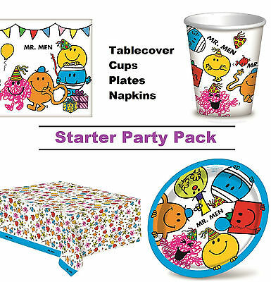 Mr Men 8-48 Guest Starter Party Pack - Cup | Plate | Napkin | Tablecover