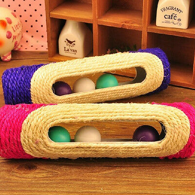 Pet Toy 3Trapped Ball Rolling Sisal Scratching Post Cat Kitten Toy Random Color