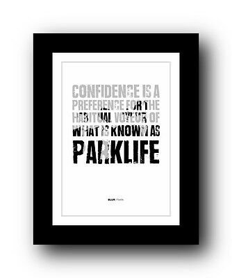 BLUR Parklife  ❤  song lyrics typography poster art print