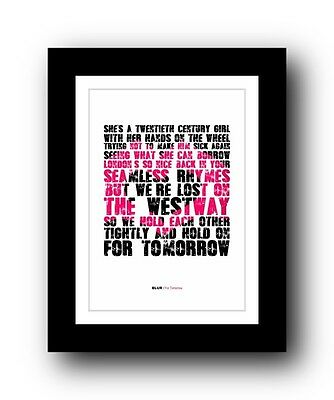 BLUR For Tomorrow #2  ❤  song lyrics typography poster art print