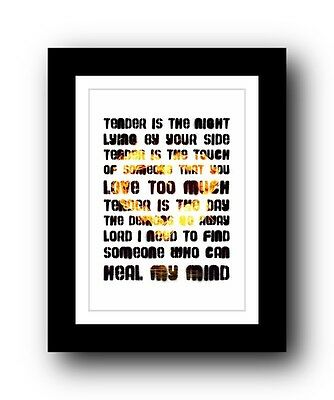 BLUR Tender  ❤  song lyrics typography poster art print