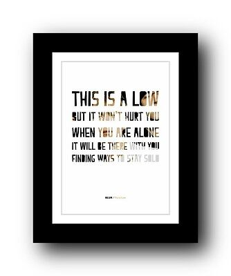 BLUR This Is A Low  ❤  song lyrics typography poster art print