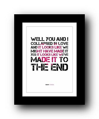 BLUR To The End  ❤  song lyrics typography poster art print