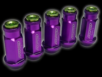 20Pc 12X1.5Mm 50Mm Extended Aluminum Racing Capped Lug Nuts Purple/Green B