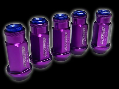 20Pc 12X1.25Mm 50Mm Extended Aluminum Racing Capped Lug Nuts Purple/Blue