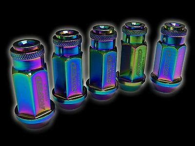 20Pc 12X1.5Mm 50Mm Extended Aluminum Racing Capped Lug Nuts Neo B