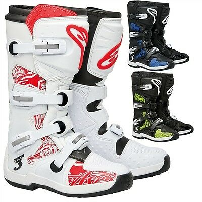 Alpinestars Tech 3 Chrome MX Dirt Bike Off-Road ATV Quad Motocross Boots
