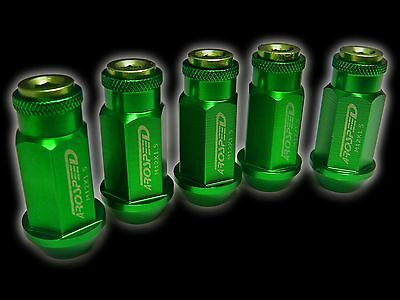 20Pc 12X1.5Mm 50Mm Extended Aluminum Racing Capped Lug Nuts Green D