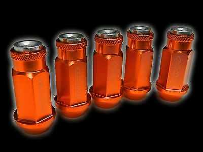 20Pc 12X1.5Mm 50Mm Extended Aluminum Racing Capped Lug Nuts Orange/Silver C