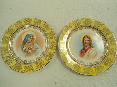 Set of 2 Vintage Homer Laughlin Mary & Jesus Decorative Wall Plates Gold Trim