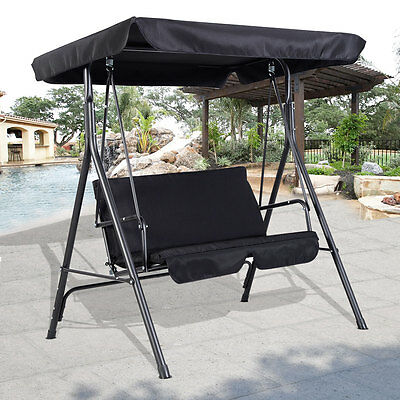 Garden Patio Metal Swing Chair Seat 2-3 Seater Hammock Bench Swinging Cushioned