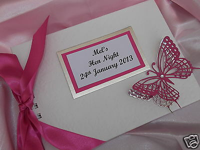 Hen Night / Party Guest Book Personalised Butterflies Design Hot Pink Fuchsia