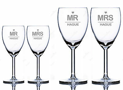 Personalised Wine Glasses - Mr & Mrs - Set of 2 (2 size options)