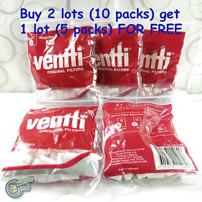 5 REGULAR RED VENTTI Cigarette Tobacco tips tubes rolling paper papers Filter RE