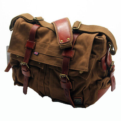 Waterproof Canvas Leather Carrying Bag Case Canon Nikon Digital Camera Zoom Lens