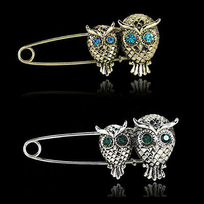 Vintage Large Blue Crystal Owl Bird Silver Gold Sweater Guard Clip Pin Brooch