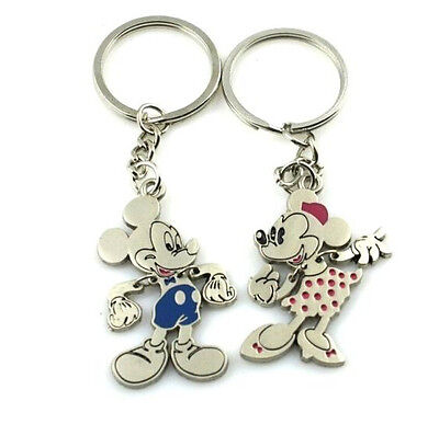 FD759 Mickey Minnie Mouse Keychain Keyring Keyfob Cute Creative Gift 1Pair 2pcs#