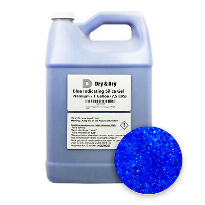"1 Gallon(7.5 LBS) ""Dry & Dry"" Premium Blue Indicating Silica Gel Desiccant Beads"