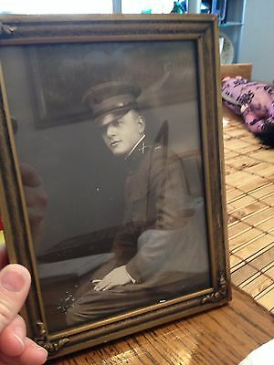 5 X 7 picture photographer military soldier with wire hanger on frame