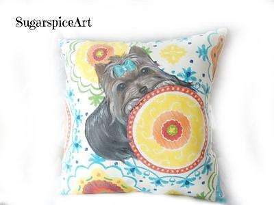 Yorkie Hand Painted Decor Pillow Cushion by SugarspiceArt